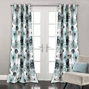 "Lush Decor Leah Floral Darkening Window Panel Curtain Set for Living, Dining Room, Bedroom, 84"" x 52"" Blue"