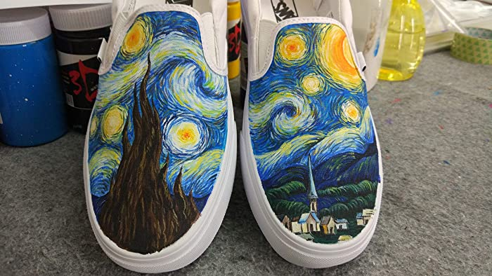 0502c05a241 Amazon.com  Vincent Van Gogh Vans Shoes Women Men Sneaker for Women Slipon  Hand Painted Shoes  Handmade
