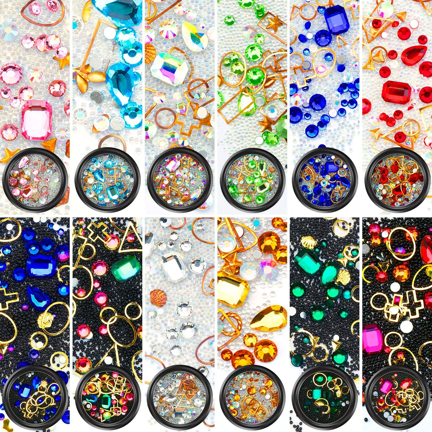 Yaomiao Nail Art Rhinestones Flatback Diamonds Crystals Beads Gems Mixed Colorful for Nail Art Decorations DIY Design (Set 2, 12 Boxes) by Yaomiao