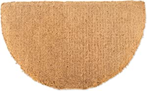 "Natural Coir Coco Fiber Imperial Outdoor Doormat, 20x33"", Heavy Duty Entry Way Shoes Scraper Patio Rug Dirt Debris Mud Trapper Waterproof-Half Round"