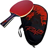 Table Tennis Racket, Rockford Carbon Ping Pong Paddle with Carrying Case for Ultimate Control, Power and Speed, ITTF Approved Professional Tennis Racket with Long Handle, Black and Red