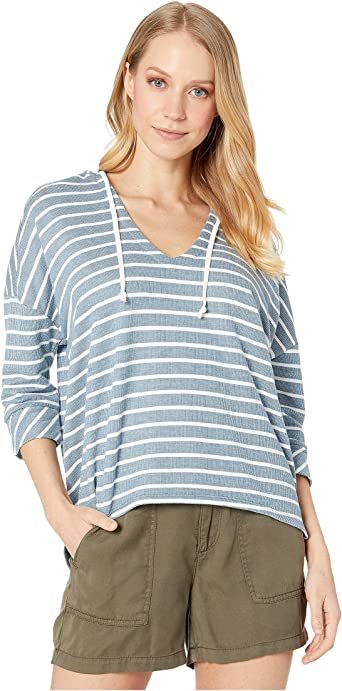 CHASER Womens Striped French Terry Kanga Pocket Long Sleeve Hoodie