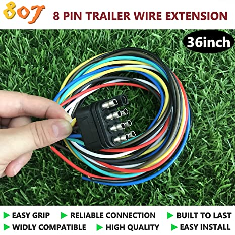 amazon com 807 8 pin trailer connector,8 way square trailer 7 pin trailer wiring extension 8 pin trailer wiring harness #1