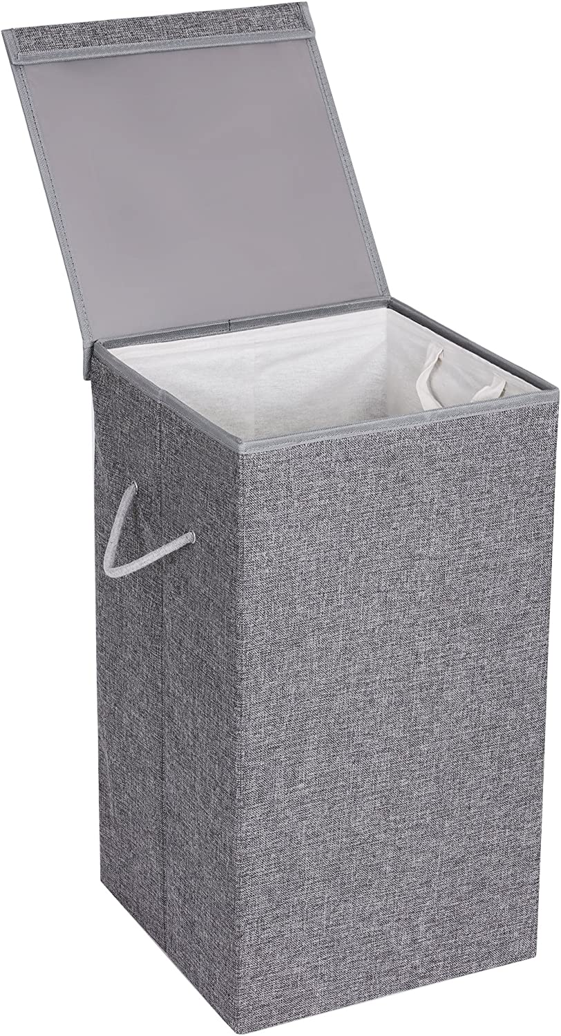 SONGMICS 22.5 Gal (85L) Laundry Hamper, Linenette Fabric Laundry Basket, Clothes Hamper with Magnetic Lid and Handles, Foldable, Removable Liner Bag, Gray ULCB01G