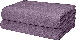 AmazonBasics Quick-Dry, Luxurious, Soft, 100% Cotton Towels, Lavender - Set of 2 Bath Towels