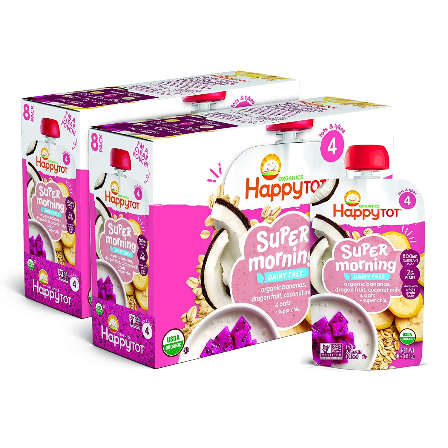 Happy Tot Organics Super Morning Stage 4 Dairy Free Food Pouch, Bananas, Dragon Fruit, Coconut Milk & Oats + Super Chia, 4 Ounces, Pack of 16