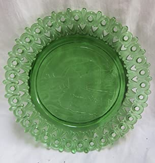 """product image for MOSSER Art Glass Green Christmas Plate 1982 Reticulated Lace Edge g55 5.5"""""""