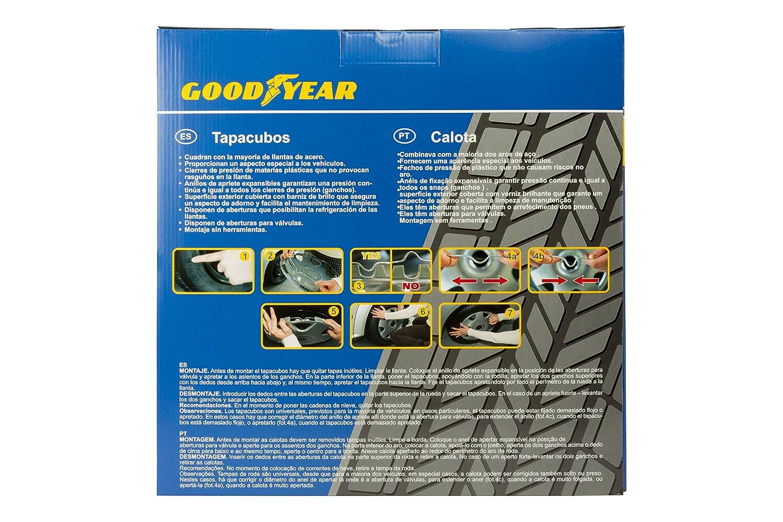 Goodyear GOD9042 Juego Tapacubos DAYTONA, Set de 4, Plata/Negro, 14 Pulgadas: Amazon.es: Coche y moto