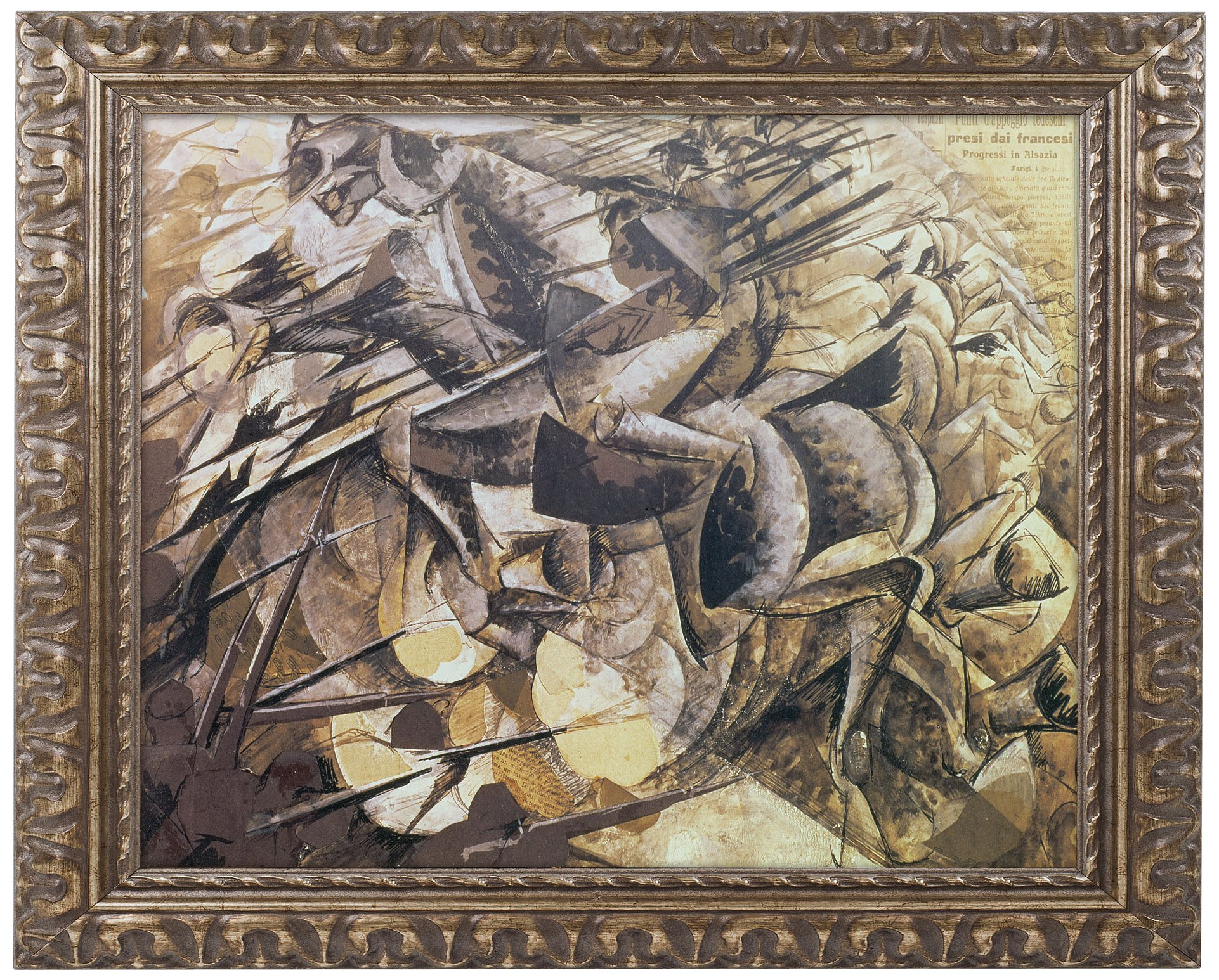 The Carge of the Lancers 1915 Artwork by Umberto Boccioni, 16 by 20-Inch, Gold Ornate Frame