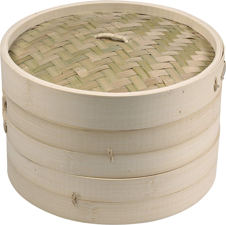 "Imusa 419095 USA PAN-10015T 10"" 2 Layer Traditional Asian Bamboo Steamer, 1 Piece, Tan"