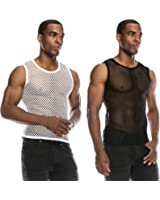 Angel Cola Men's Mesh Fishnet Fitted Muscle Tank Top 2 Pack