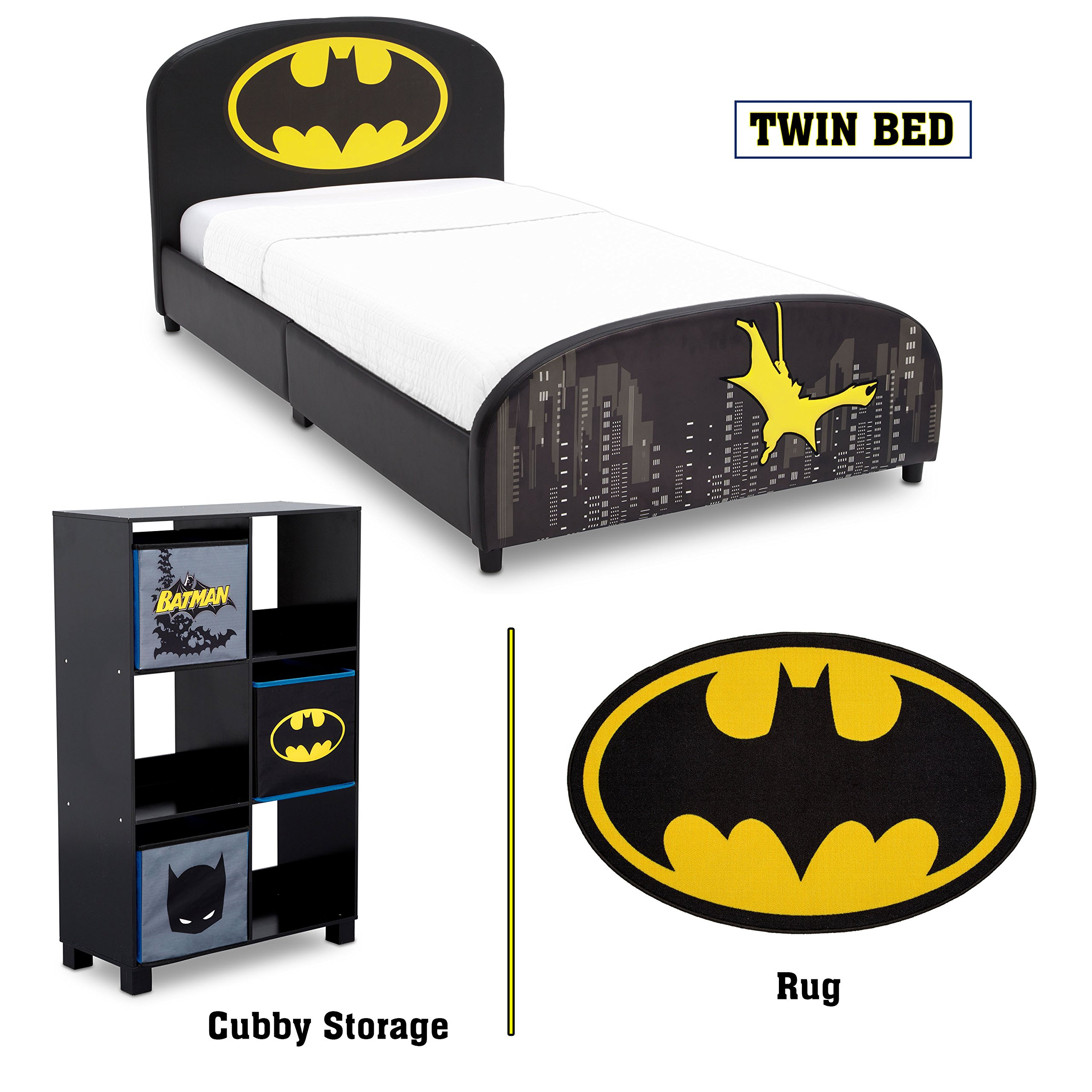 Delta Children - Batman Twin Furniture Set, 3-Piece by DC Comics (Batman Upholstered Twin Bed | Storage Unit with 6 Cubby's and Batman Bins | Batman Area Rug) by Delta Children