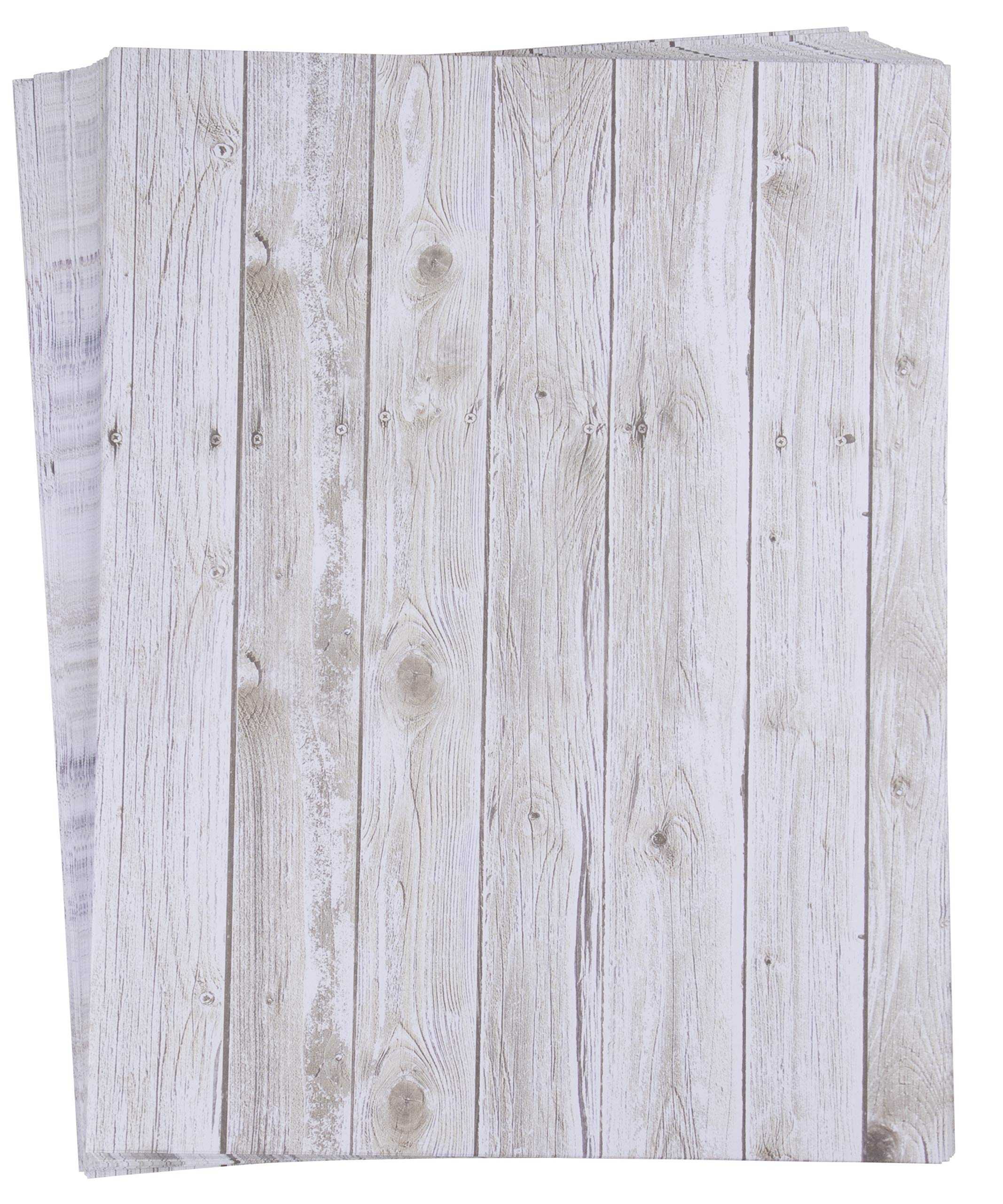 96-Sheet Stationery Paper - Rustic Wood Panel Designs, Double Sided Prints, Perfect for Printing, Copying, Crafting, Letter, Certificate, Invitations, Letter-Size, 8.5 x 11 Inches