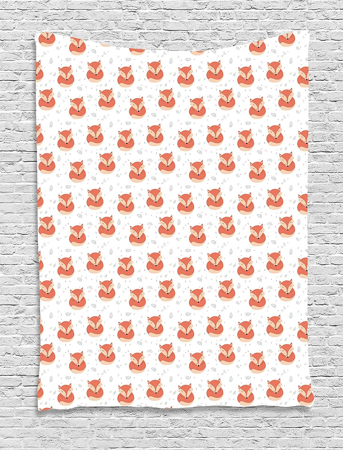 Fox Tapestry, Cute Sleeping Animals Pattern on Heats and Leaves Background Vintage Inspirations, Wall Hanging for Bedroom Living Room Dorm, 60 W X 80 L Inches, Coral Beige