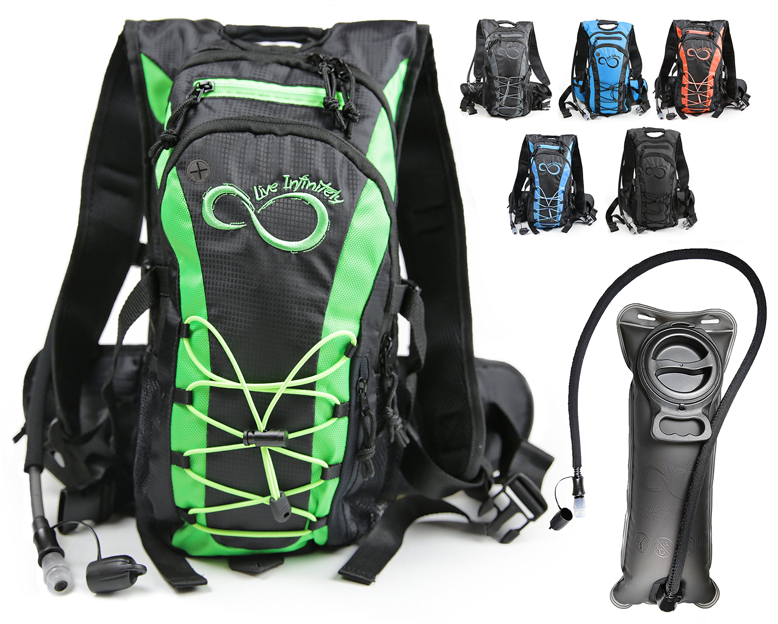 Live Infinitely Hydration Backpack with 2.0L TPU Leak Proof Water Bladder- 600D Polyester -Adjustable Padded Shoulder, Chest & Waist Straps- Silicon Bite Tip & Shut Off Valve- (Green Edges) by Live Infinitely