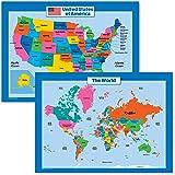 Amazon.com : USA Map for Kids - Laminated - United States Wall Chart ...