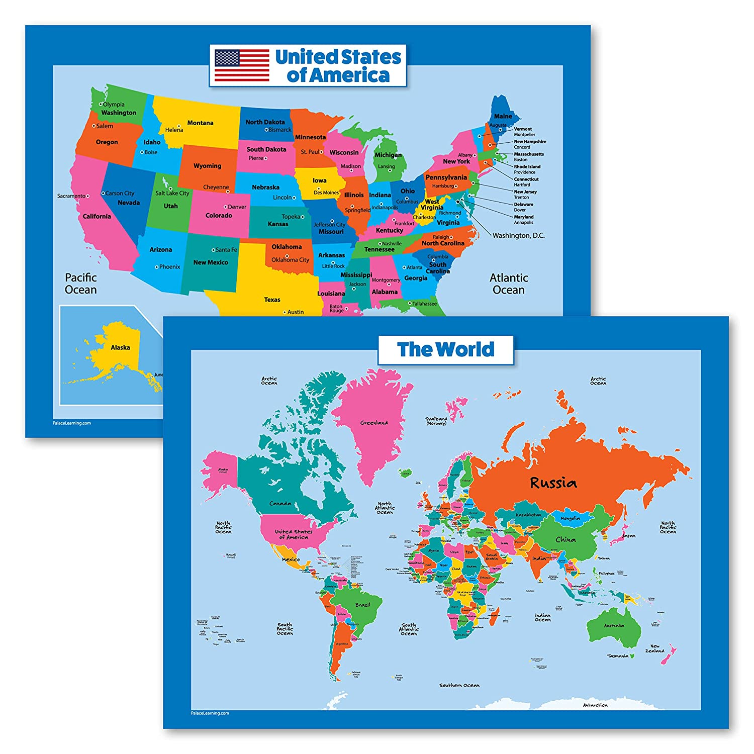 Real Map Of The United States.World Map And Usa Map For Kids 2 Poster Set Laminated Wall Chart Poster Of The United States And The World 18 X 24