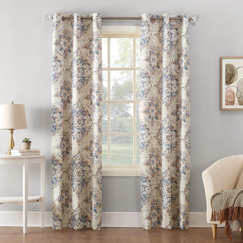 Sun Zero Regina Floral Thermal Insulated Room Darkening Grommet Curtain Panel 40 X 63 Linen Watercolor Home Kitchen