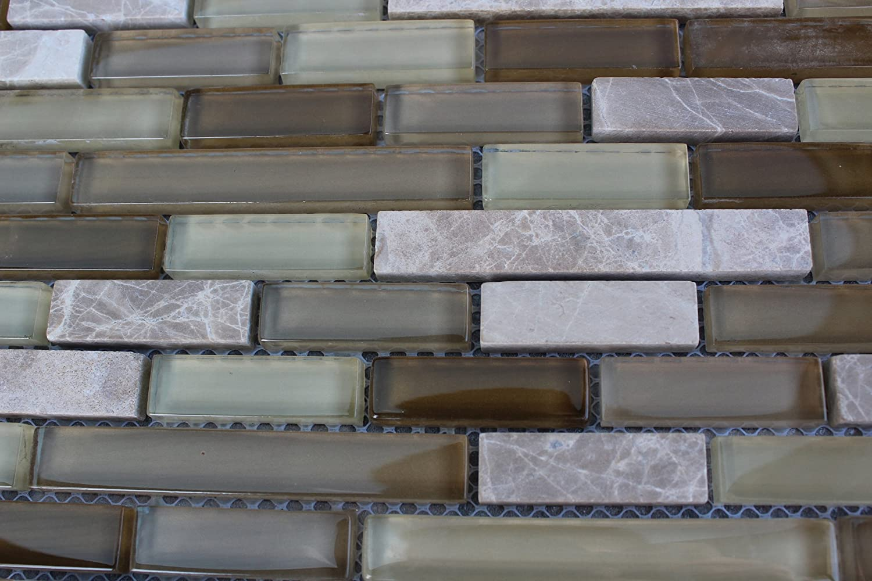 - 10 SHEET 10 SQUARE FEET Brown Green Mosaic Tiles Mesh Sheet Glass