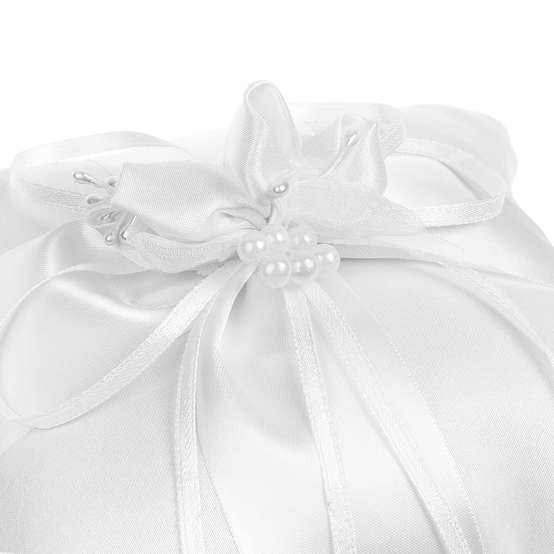 Amazon.com: Cosmos satén nupcial anillo de boda portador ...