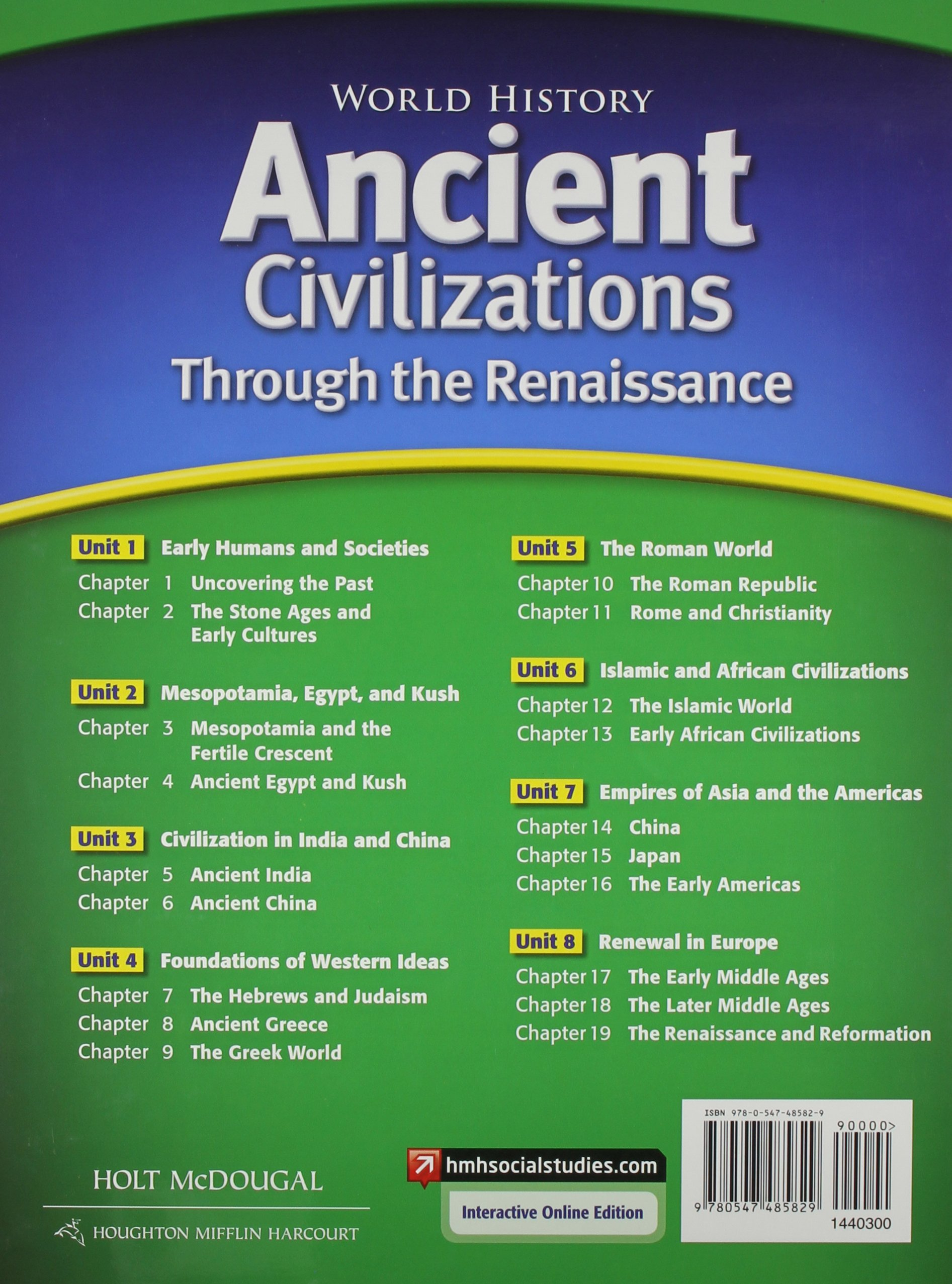 World history student edition ancient civilizations through the world history student edition ancient civilizations through the renaissance 2012 holt mcdougal 9780547485829 amazon books fandeluxe Images