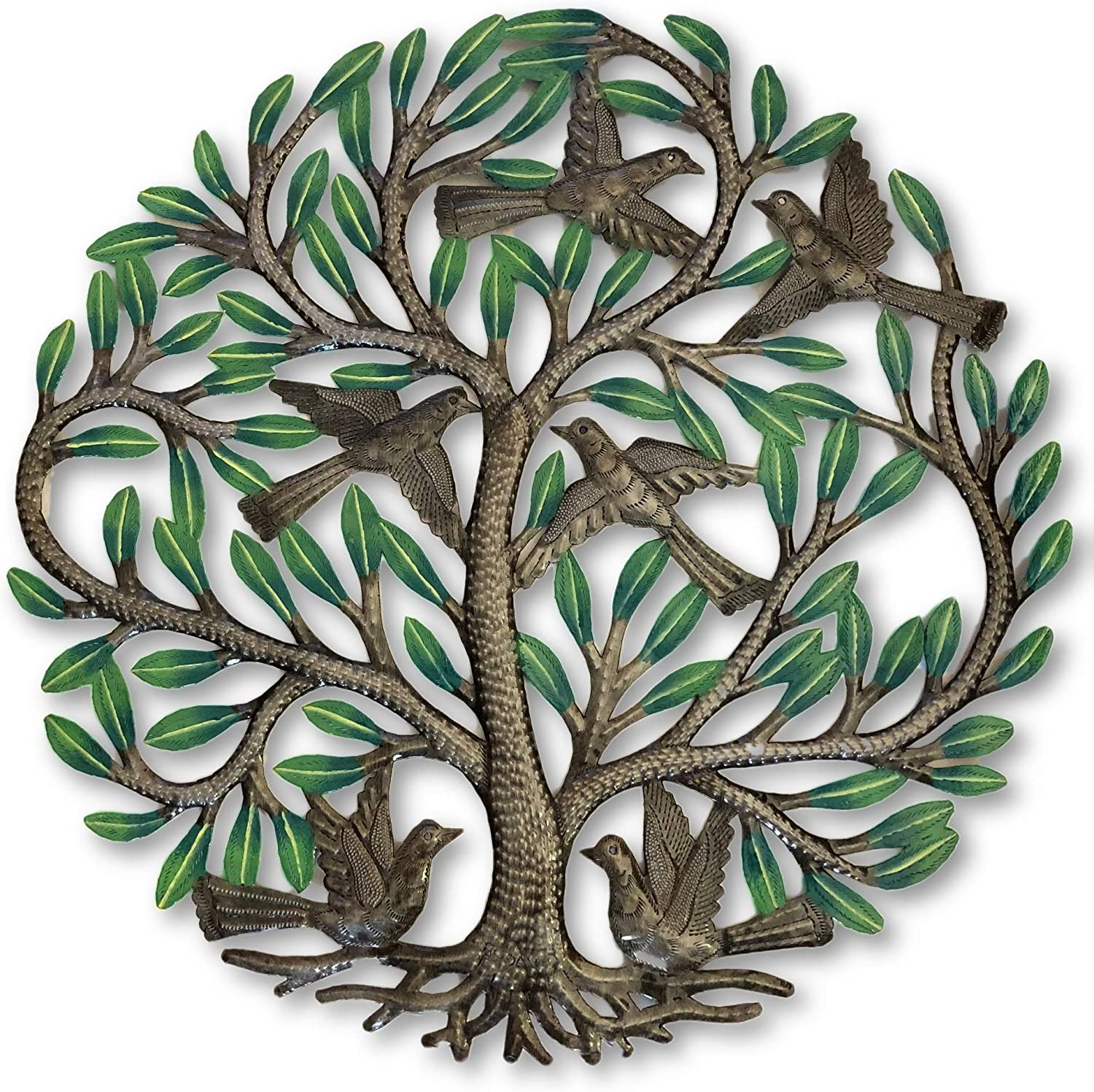 Haitian Hand Painted Tree of Life Wall Decor, Global Art Made in Haiti, Oil Drum Metal Craft with Birds, Decoration for Kitchen or Anywhere in Home, 24 In. x 24 In. (Hand-Painted Tree)