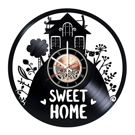 Home Sweet Home Vinyl Record Wall Clock   Home Room Or Living Room Wall  Decor