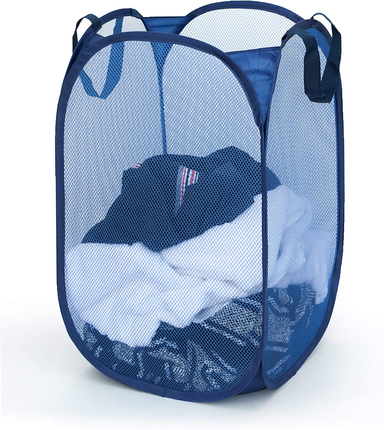 Topline Pop-Up Square Laundry Hamper, Durable Ventilated Mesh with Carry Handles (Navy)