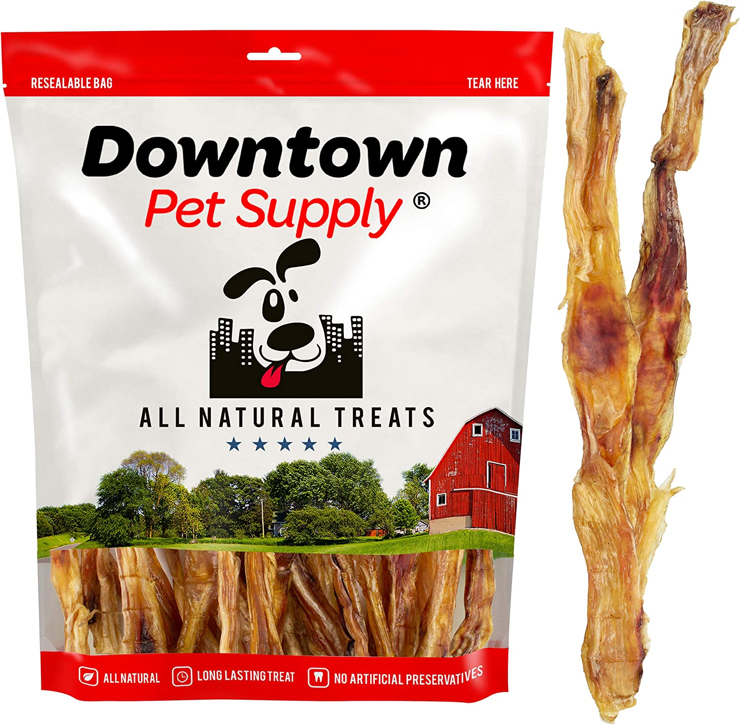 Downtown Pet Supply Natural Beef Tendons, Single Ingredient, Alternative to Bully Sticks, Healthy Dog Treats, 9 inch - 12 inch Long (25 Pack)