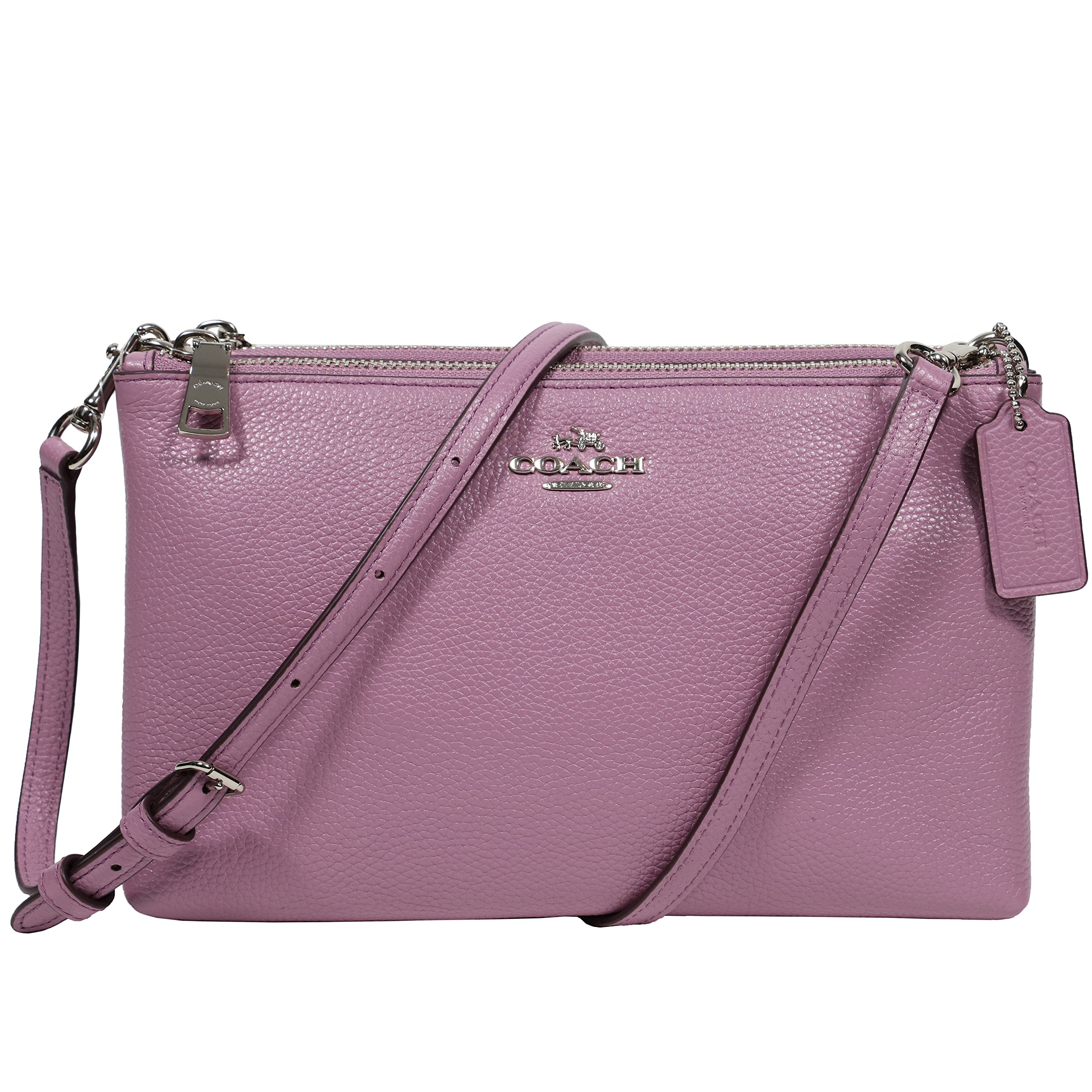 Coach Womens Lilac Pebble Leather Lyla Double Zip Crossbody Bag, Style F38273, Silver Lilac
