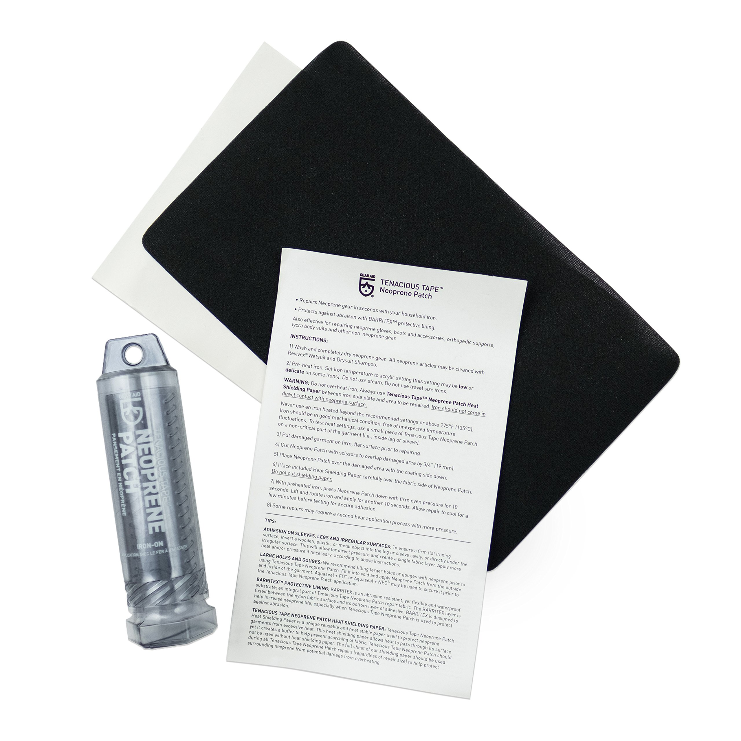"""GEAR AID Wetsuit Repair Kit with Neoprene Patch, Fix Seams and Tears , Black , 6"""" x 10"""""""