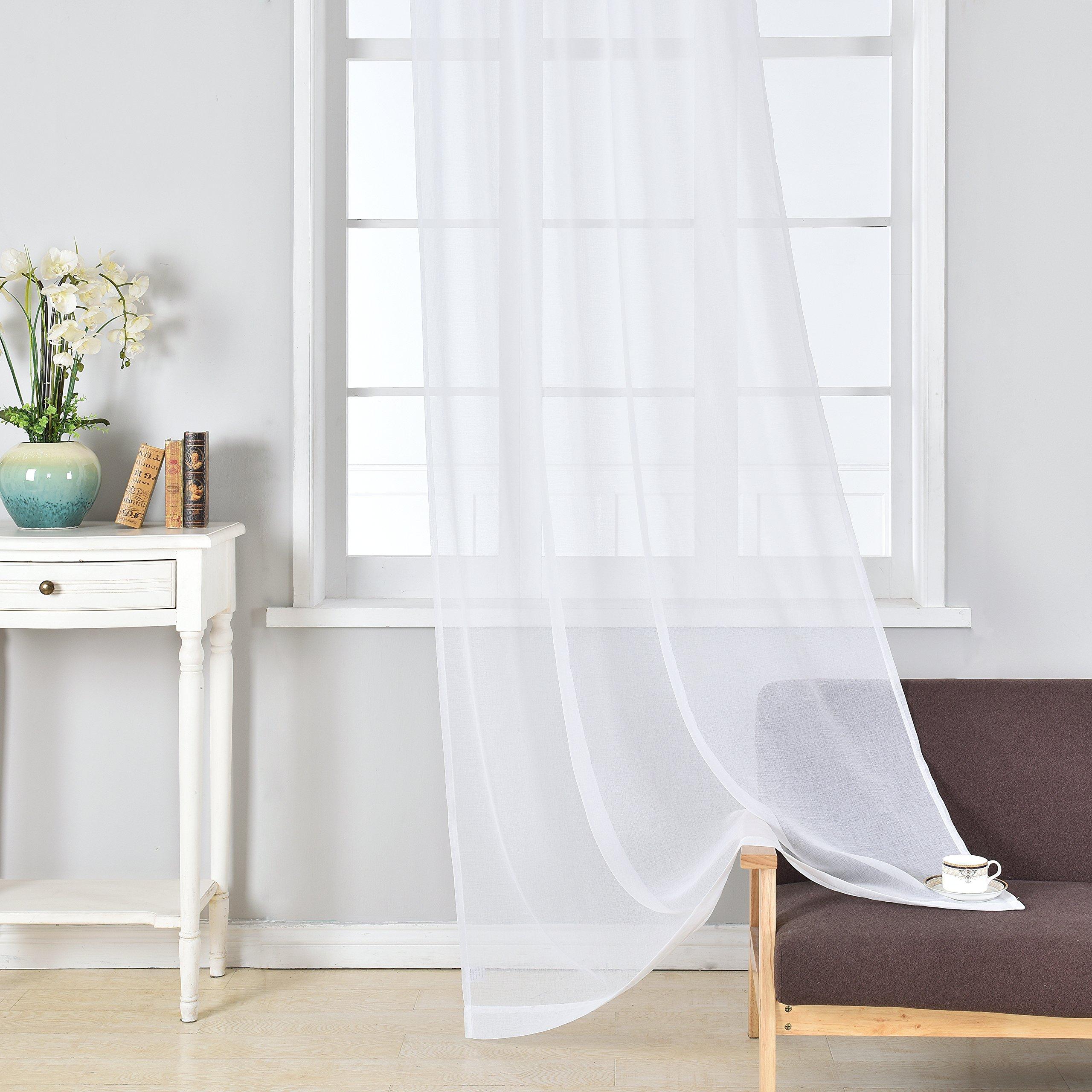 DWCN White Sheer Curtains Linen Look Semi Transparent
