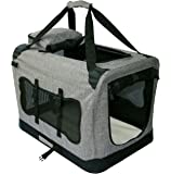 Mr. Peanut's Soft Sided Pet Carrier with Steel Frame - 24X16X16 Dog House Style Portable Pet Crate - Designed for Comfort & Safety - Padded Fleece Bedding- Washable Fabric Cover- Locking Zipper