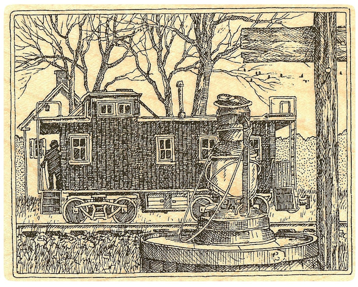 {Single Count} Unique & Custom (4 1/2'' by 3 1/2'' Inches) ''Train Station & Lantern Scene'' Rectangle Shaped Genuine Wood Mounted Rubber Inking Stamp