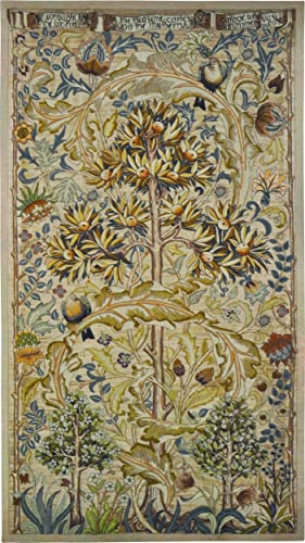European Summer Quince by William Morris Woven Tapestry Wall Art Hanging Fruit Tree with Swirling Acanthus Leaf Design 100 Cotton USA Size 64×34