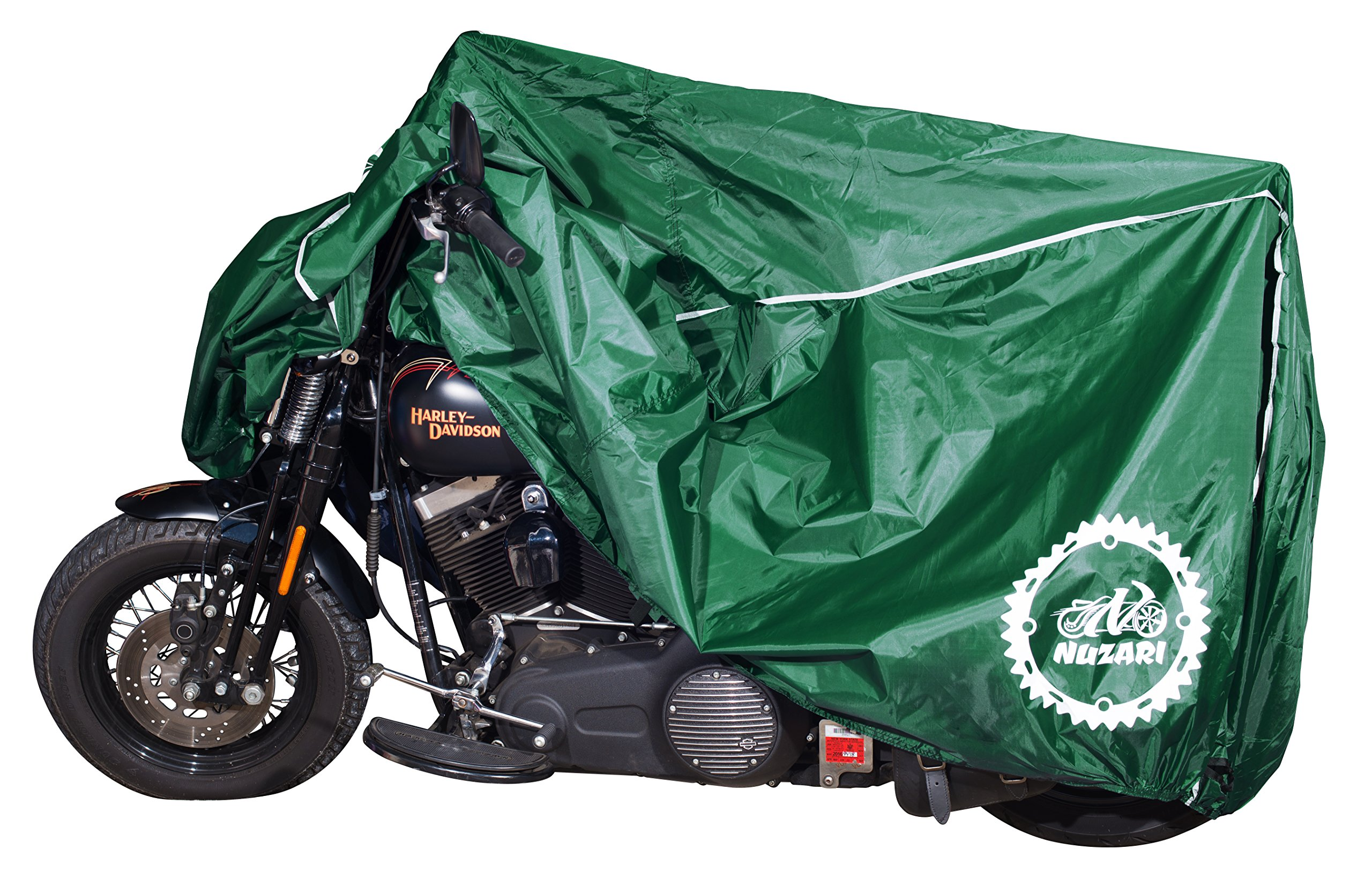 Premium Weather Resistant Covers Waterproof Polyester w/Soft Screen & Heat Resistant Shields.Motorcycle Cover has Lockable fabric, Durable & Long Lasting.Sportbikes & Cruisers (XX-large, Hunter Green) by Nuzari
