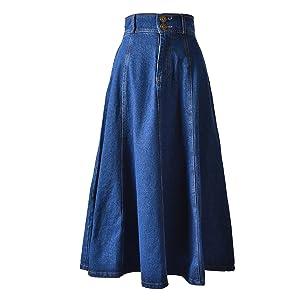 Cityelf Women's High Waist Flared Midi Denim Skirt (Small)