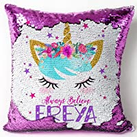 KRAFTYGIFTS Personalised UNICORN Magic Reveal Sequin Cushion Cover Pink Mermaid Case KC55