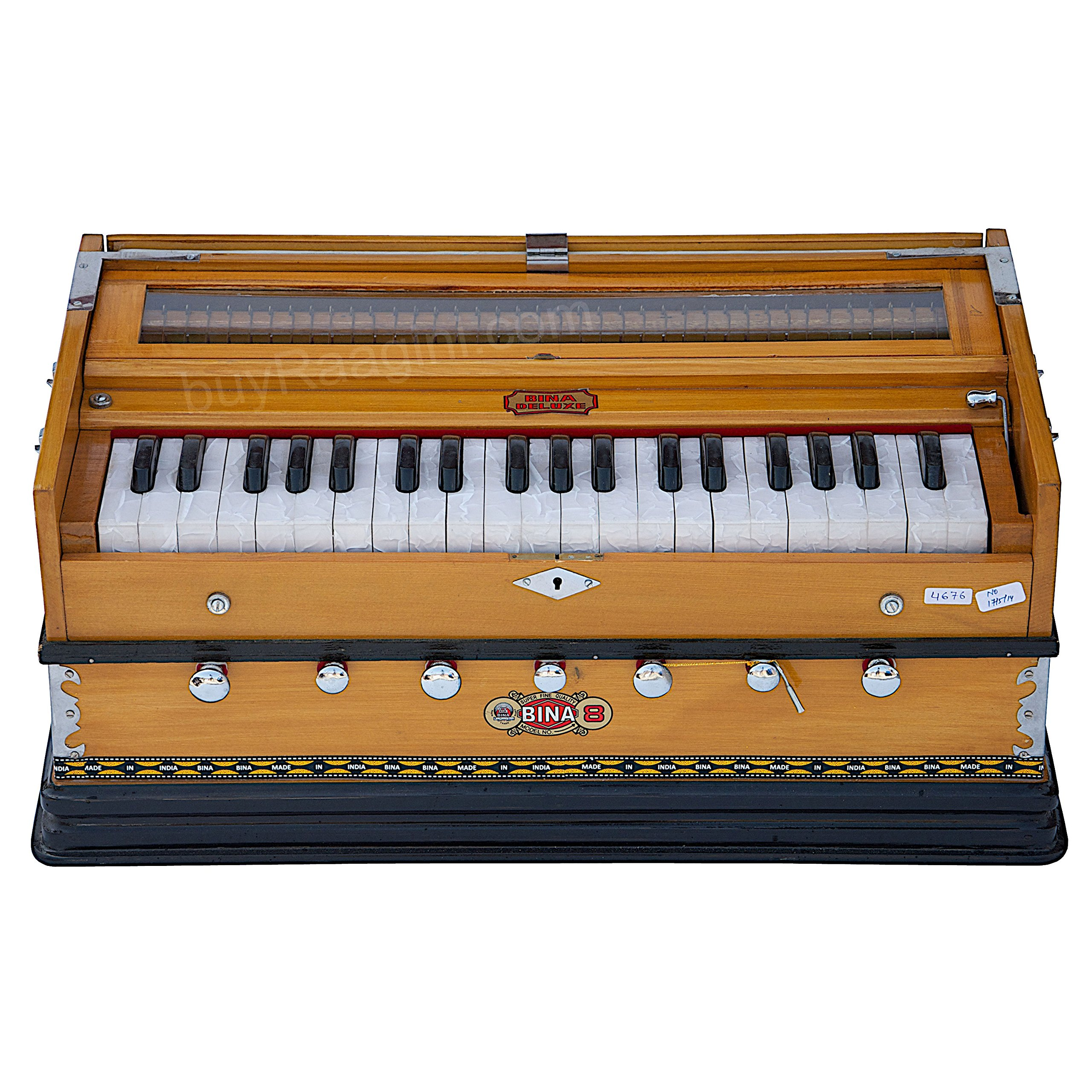 Harmonium Musical Instrument, BINA No. 8, 7 Stops, 3 1/4 Octaves, Coupler, Tuned To A400, Double Reed, Natural Color, Book, Nylon Bag (PDI-DJF) by Bina (Image #2)