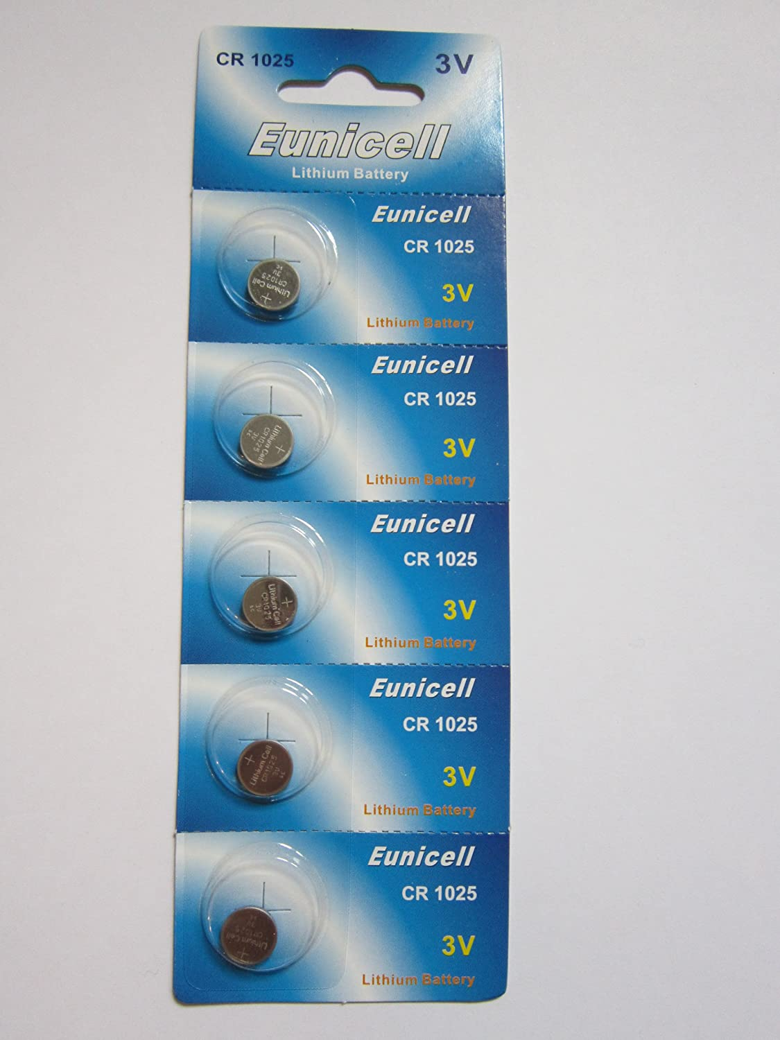 5 Pcs CR1025 CR 1025 - 3V Eunicell Lithium Button Cell Battery Batteries - BRAND NEW IN FACTORY PACKAGING