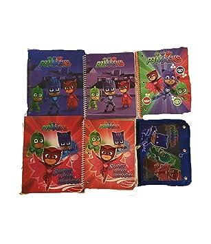Bundle of 6 PJ Mask School Supplies - 2 Folders, 3 Spiral Notebooks, 1