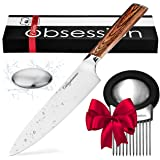 8 Inch Chef Knife - Highest Quality German Stainless Steel Blade to Stay Sharp Longer - Perfect Gift for Professional Chefs or Home Cooks - BONUS Meat Tenderizer & Odor Removing S.S. Soap