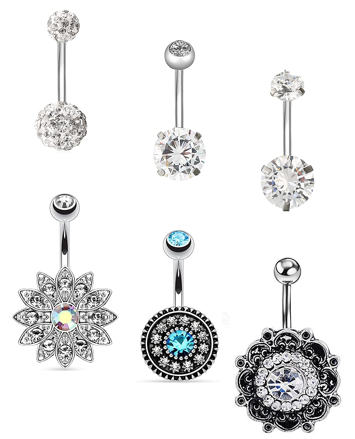 100% Quality Heart Navel Belly Bar Rings Clear Aqua Blue Crystal Bling Cz Surgical Steel Products Are Sold Without Limitations Body Piercing Jewelry