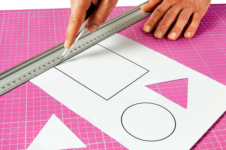 cm und inch Angabe Guss /& Mason Selbstheilende Schneidematte A3 in Pink Perfekt zum N/ähen Gr/ün Basteln und Patchworken 45x30 beidseitig Bedruckt Blau