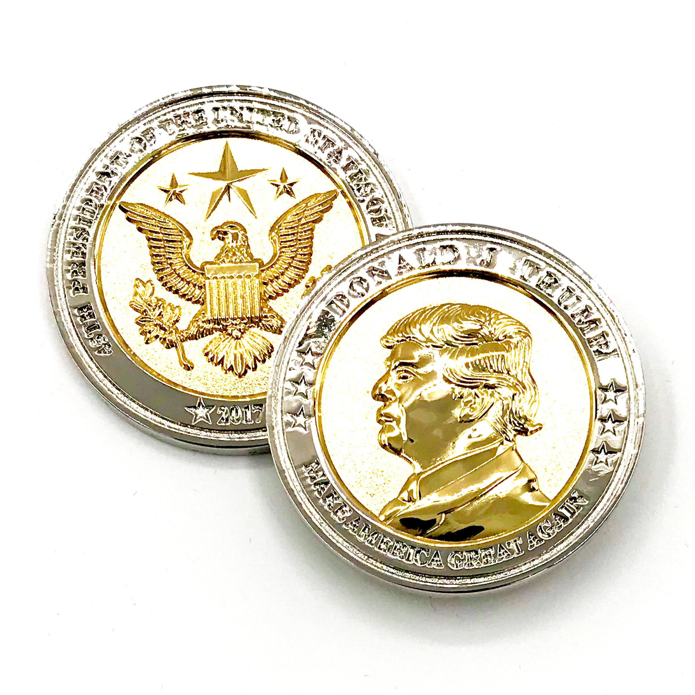 Trump Coin, 58th Presidential Inauguration of Donald J. Trump Challenge Coin by AIIZ Collectibles, 1.75'' Diameter in Shinny 24K Gold & 925 Silver Plating, packaged in Black Velvet Case by AIIZ Collectibles (Image #2)