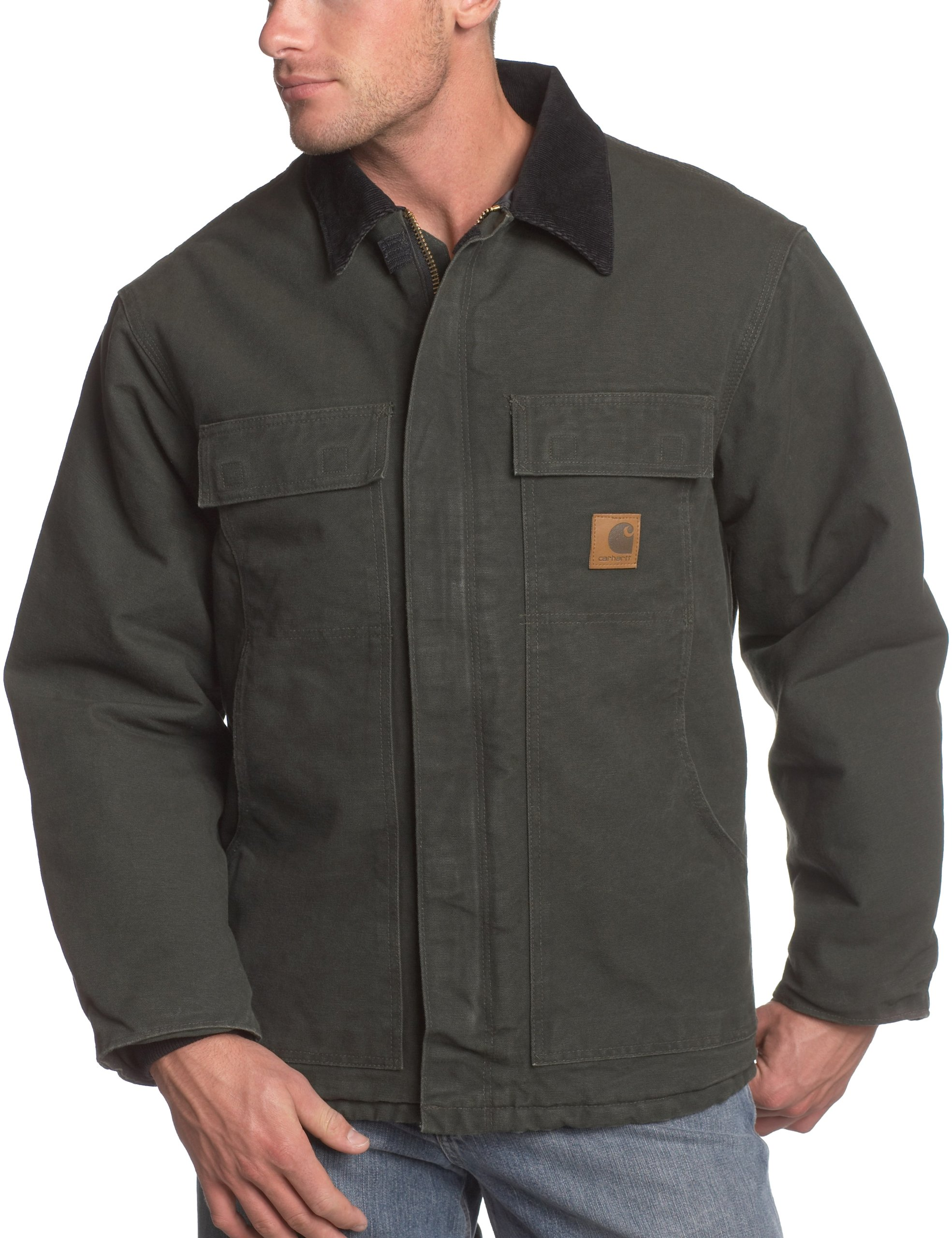 Carhartt Men's Big & Tall Arctic-Quilt Lined Sandstone Duck Traditional Coat C26,Moss,3X-Large/Tall