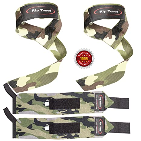 Lifting Straps + Wrist Wraps Bundle (1 PAIR of Each) by Rip Toned -