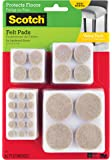 Scotch Felt Pads Value Pack, 162 Pads/Pack, Round, Beige, Assorted Sizes, (SP845-NA)