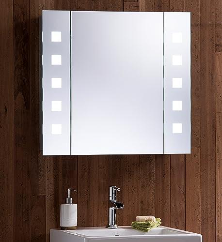 Led illuminated bathroom mirror cabinet with wire free - Glace de salle de bain avec eclairage ...