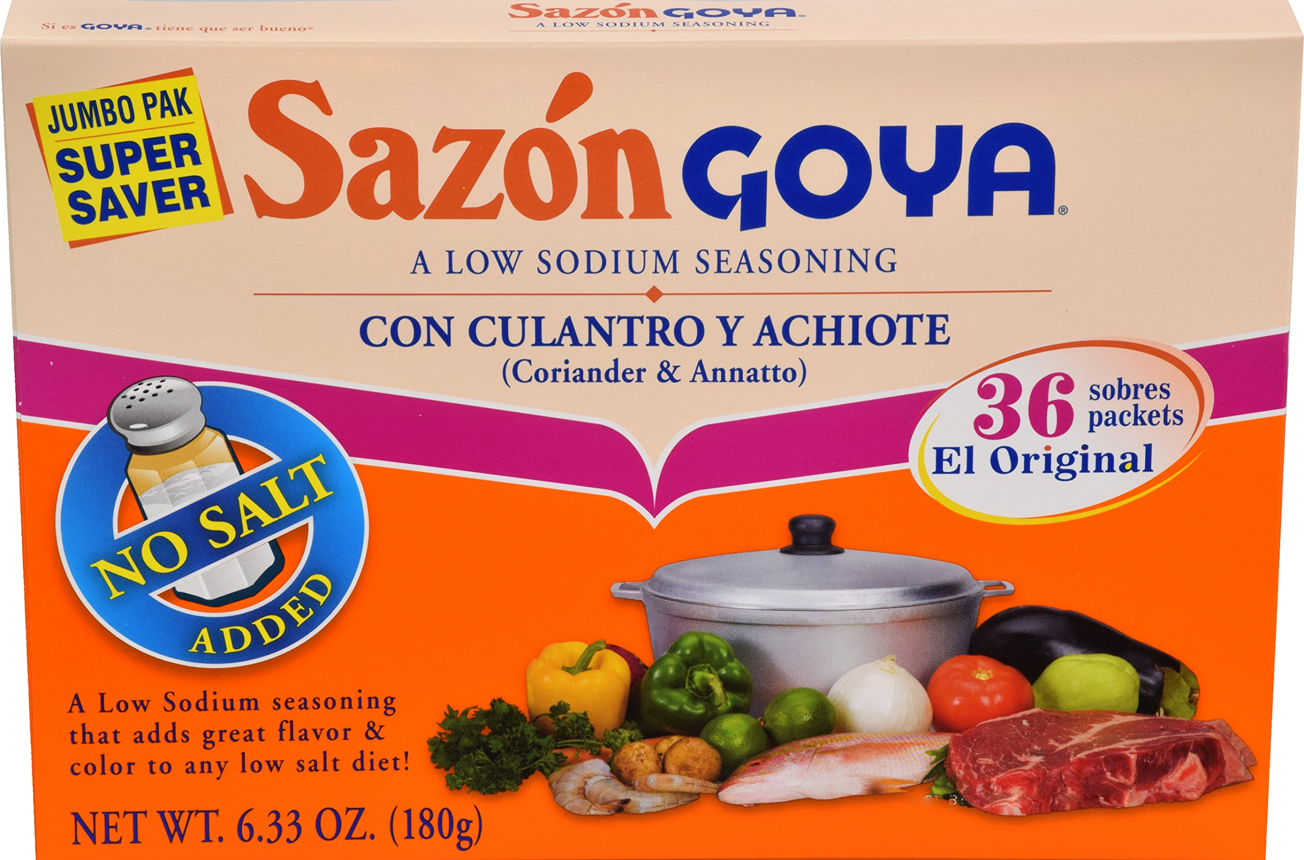 Goya Foods Sazon Coriander & Annatto No Salt, 6.33 Ounce (pack of 15)
